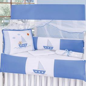 Kit Berço Marinheiro Menino Barquinho Azul Claro 10 Pçs