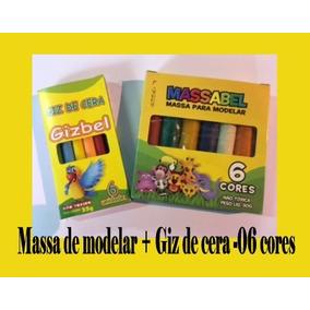60 X Massinha De Modelar + 60 X Giz De Cera- 06 Cores