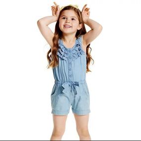 Macaquinho Jardineira Infantil Jeans