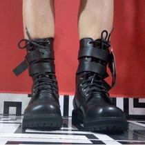 Coturno Vilela Boots Cano Médio Com Fivelas Tam 34 Gotico