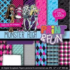 16 Itens Kit Digital Editavel Scrapbook Monster Higth