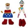 Conjunto Newborn Mulher Maravilha Croche Prop Vestido Bebe
