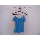 Blusa Feminina Azul Chiffon Ombros Caídos Cód. 481