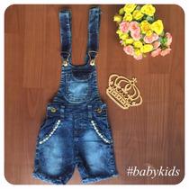 Jardineira Infantil Jeans Feminina Com Detalhes