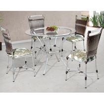 Conjunto Mesa 4 Cadeiras Em Alumínio Fibra Sintética