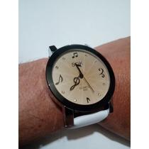Reloj De Moda Con Notas Musicales Unisex Blanco Envío Gratis