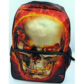 Mochila Caveira Chamas Notebook Escolar Tribo Do Rock