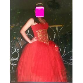 Hermoso Vestido De Xv Años 15 Quince Años Rojo Con Dorado Co