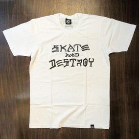 Camiseta Skate Thrasher Skate And Destroy Branca preta c15057332eff2