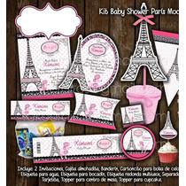 Kit Imprimible Paris Rosa Baby Torre Eiffel Mesa De Postres