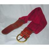 M76 Cinturon Faja Vintage Cuero Y Tela Tejida Hebilla Bronc