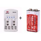 Kit Carregador Pilhas Mox + 1 Bateria Recarregável 450 Mah