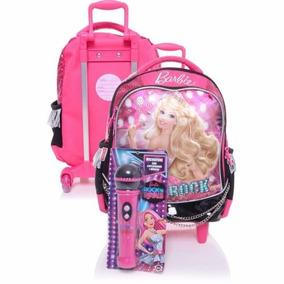 Mochila Barbie Rock Royals Microfone Rodinhas Rosa Tam G