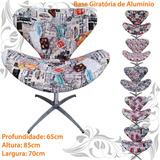 Poltrona Decorativa Giratória Base Cadeira Direto D Fabrica