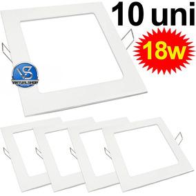 Kit 10 Painel Plafon 18w Luminária Led Embutir Spot