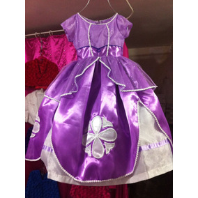 Vestido Disfraz Lujo + Tiara Princesita Sofia Envío Gratis