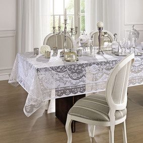 Toalha De Renda Retangular 10 Lugares Dinner Branca Lepper