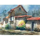 Acuarelas Originales # 8 De 19x14 Cms Únicas Casas De Campo
