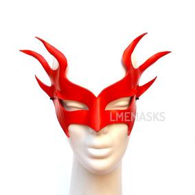 Máscaras Antifaz Rojo Hombre Fuego Veneciana Cuero Disfraz