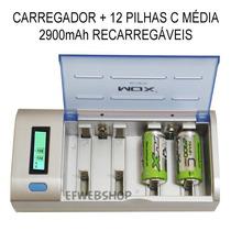 Kit Carregador Mox Cb795 + 12 Pilhas Médias C 2900mah Recarr