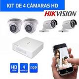 Kit 4 Camaras De Seguridad Hd 720p Hikvision Vea Del Celular