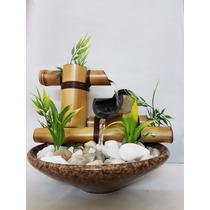 Fonte Agua Artesanal 2 Quedas Bambu Ceramica Pedras Completa