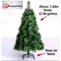 Árvore De Natal Pinheiro Luxo Verde 1,20m C/90 Galhos