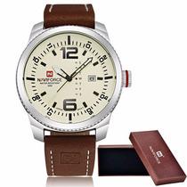 Relógio Naviforce 9063 Pulseira Em Couro-frete Grátis