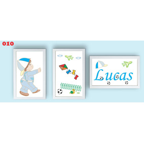 Quadro Decorativo Infantil Menino Com Pipa Personalizado