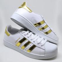 Tênis Feminino Adidas Superstar Skatista Branco Dourado