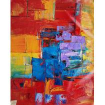 Pintura Abstracta Al Óleo: Composición Azul, Amarillo Y Rojo