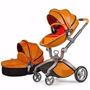 Carrinho De Bebê Luxo Em Couro Com Cesta - Berço