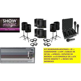 Kit Behringer 4bocinas Amplificada,consola,4subwoofer,micros