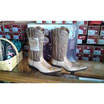 Bota Vaquera Piel Imit. Pata De Avestruz Crema Rancho Boots