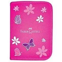 Estojo Nylon Completo C/18 Pçs - Rosa - Faber Castell