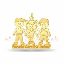 Pingente Menino Ou Menina Filhos Personalizado Em Ouro 18k