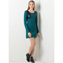 Mini Vestido Com Detalhe Couro Estampada Vichy