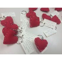 Chaveiro De Coração Em Feltro Para Lembrança. Kit Com 10 Uni