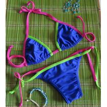 Biquini Colorblock Top Cortininha Calcinha Lacinho Azul E +