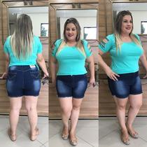 Shorts Bermuda Jeans Plus Size Exclusivo Lycra Modelador