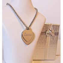 Medalla Acero Quirúrgico Personalizada Corazón Grabado