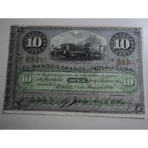Billete Cuba 1896 Diez Pesos