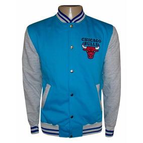 Blusa Moletom Chicago Bulls Azul Claro E Cinza Colegial