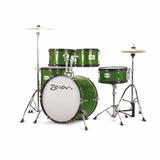 Batería Acústica Completa Zaion Junior Verde Hihat10 Crash12