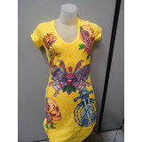 Vestido Ed Hardy By Christian Audigier - Amarelo - Original