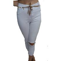 Calça Feminina Jeans Cintura Alta Hotpant/boyfriend Branco