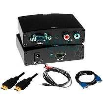 Adaptador Vga Para Hdmi Ps3 Xbox360 Tv+ Cabos Vga Hdmi Audio