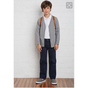 Pantalon Escolar Azul Marino En Drill Para Niño