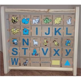 Bichionário Em Madeira Alfabeto Dos Animais - Alfabetização