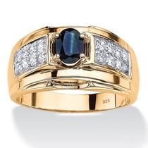 Anillo Circonio/zafiro Azul 1.53ct Oro 14k/plata Hombre T.10